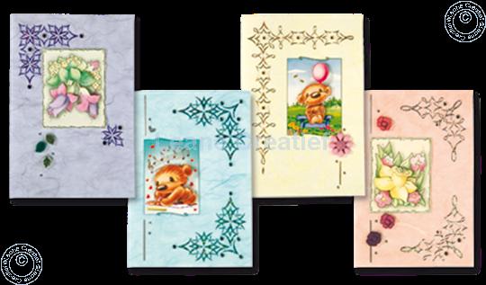 Image sur Sticker-Corner-Stitch® avec Twinny® & Fleurs