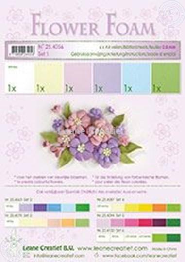 Afbeelding van Flower foam set 1 pastel kleuren