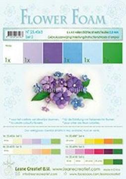 Afbeeldingen van Flower foam set 2 blauw/violet