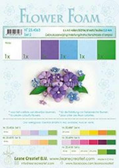 Afbeelding van Flower foam set 2 blauw/violet