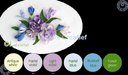 Afbeelding van Flower foam set 7 pastel blue/violet