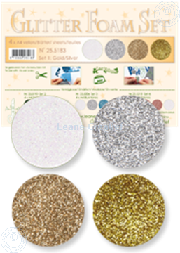 Afbeeldingen van Glitter Foam set 1 goud/zilver/wit