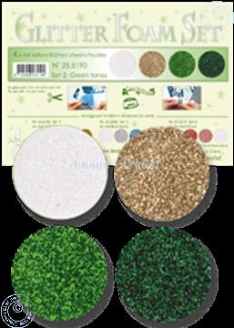 Afbeeldingen van Glitter Foam set 2 groen/goud/wit