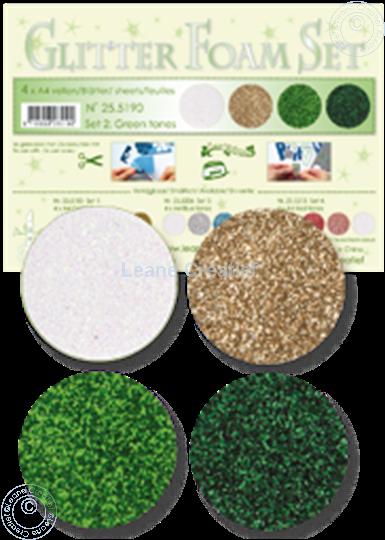 Image sur Glitter Foam set 2 vert/blanc/or