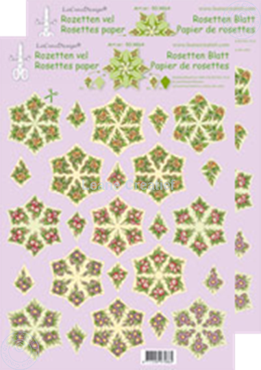 Picture of Rosettes decoupage & cut sheets Flowers green/yellow