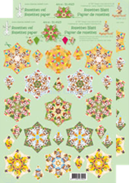 Picture of Rosettes decoupage & cut sheets Mylo & Friends® green/yellow