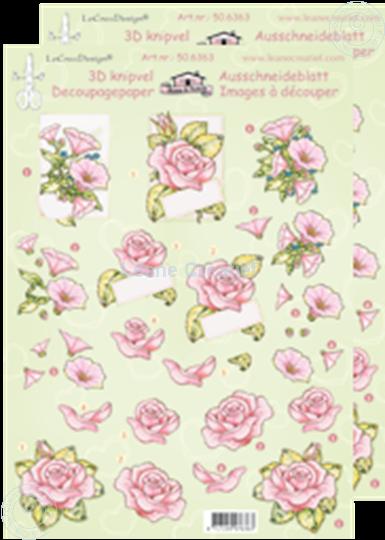 Afbeelding van LeCreaDesign® knipvellen rozen roze bloemen