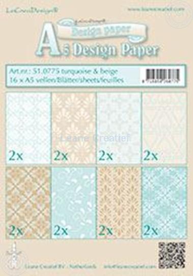 Bild von Design Bogen Türkis & Beige A5