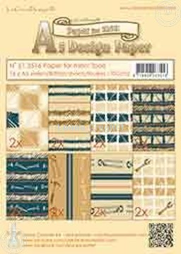 Bild von Design Paper Men tools blue/brown