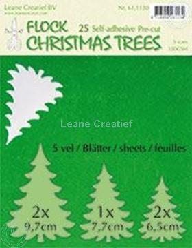 Image de 25 green Flock trees pre-cut & self-adhesive