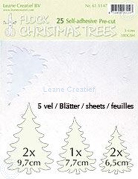 Image de 25 white Flock trees pre-cut & self-adhesive