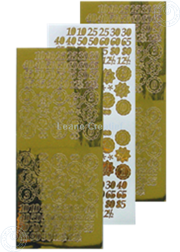 Image de LeCreaDesign® sticker de numéros d'anniversaires miroir d'or