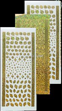 Afbeeldingen van Stickers kerstbal & hulst diamond gold