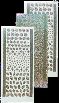 Afbeeldingen van Stickers kerstbal & hulst diamond silver