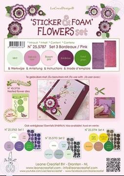 Afbeeldingen van Sticker &  Foam Flowers Set 3 Bordeaux Pink