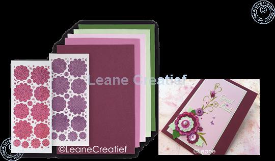 Afbeelding van Sticker &  Foam Flowers Set 3 Bordeaux Pink
