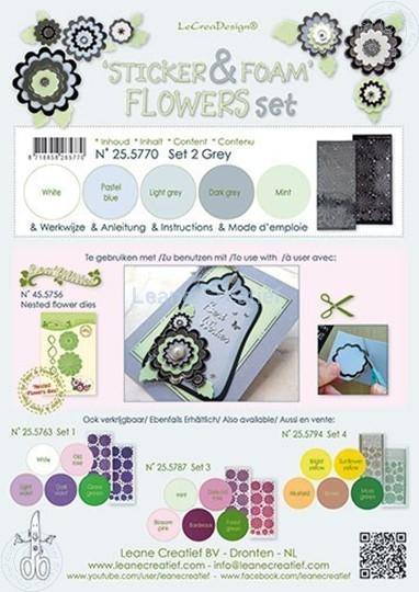 Afbeelding van Sticker &  Foam Flowers Set 2 Grijs