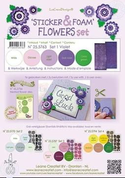 Afbeeldingen van Sticker &  Foam Flowers Set 1 Violet