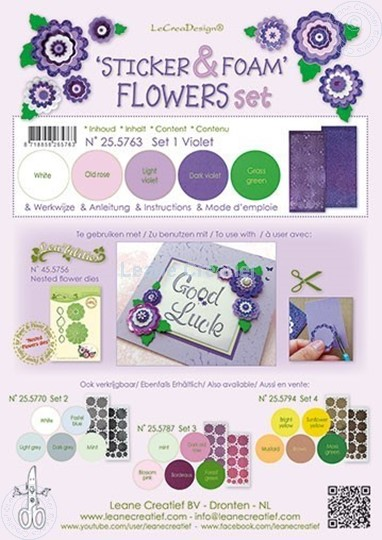 Afbeelding van Sticker &  Foam Flowers Set 1 Violet