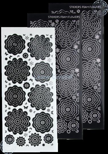 Afbeelding van Nested Flower Sticker black silver