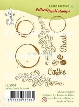 Afbeeldingen van LeCreaDesign® combi clear stamp Koffiebonen en vlekken