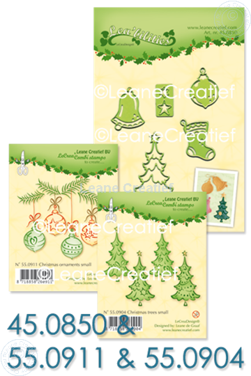 Afbeelding van Set Lea'bilitie & Clearstamp Christmas trees & ornaments
