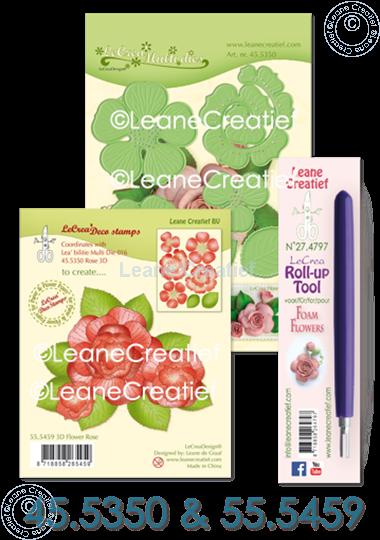 Afbeelding van Set Multi die & Clearstamp Rose & Roll-up tool