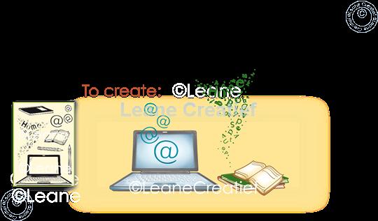 Afbeelding van Combi clear stamp Laptop - School