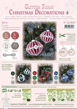 Afbeeldingen van Glitter Foam Kerstbal decoratie Set 4