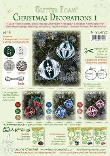 Afbeelding van Glitter Foam Kerstbal decoratie Set 1