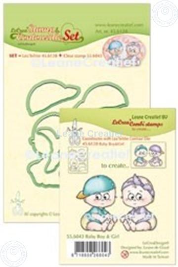 Image sur Lea'bilitie® Tampon clair & Contour matrice pour découper  Set Baby garçon & fille