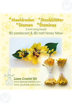 Afbeeldingen van Meeldraden 2mm,  80 matt & 80 pearl Honey yellow