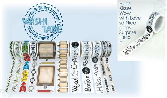 "Picture of Washi tape Sentiment English ""Hugs"", 20mm x 5m."