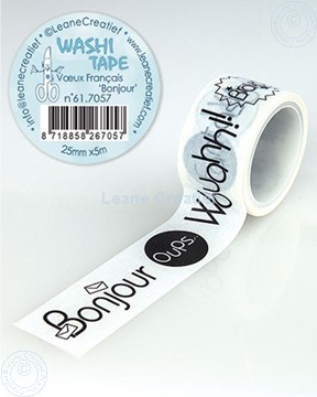 "Afbeeldingen van Washi tape Franse teksten 1 ""Bonjour…"" 25mm x5m."