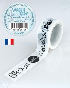 """Image de Washi tape Vœux Français 2 """"Bisous"""" 20mm x5m."""