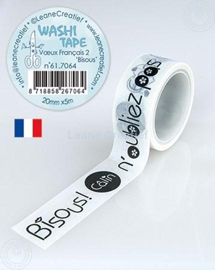 Bild von Washi Tape Französische Worten 2. Bisous, 20mm x 5m.