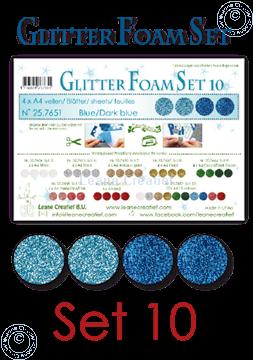 Afbeeldingen van Glitter Foam set 10, 4 vellen A4 2 blauw & 2 donker blauw