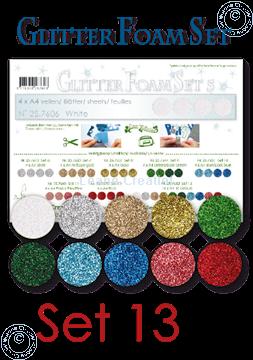 Afbeeldingen van Glitter Foam set 13, 10 vellen A4 verschillende kleuren